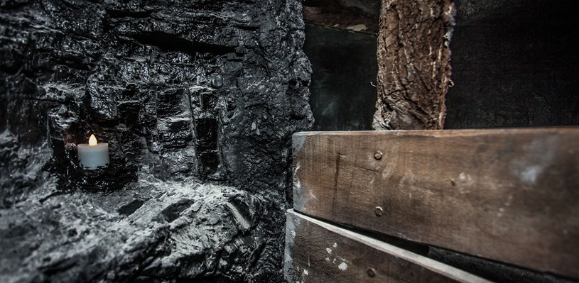 Visitors can crawl inside the coal mine